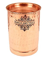 IndianArtVilla 4.0 X 2.8 Pure Copper Hammered Glass with Lid 300 ML Water Serving Home Hotel Drinkware Good Health Benefits Yoga Ayurveda
