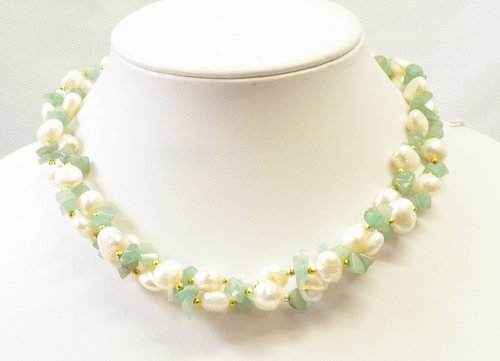 Freshwater Cultured Pearls and Jade Chip Necklace 16 Inches Round