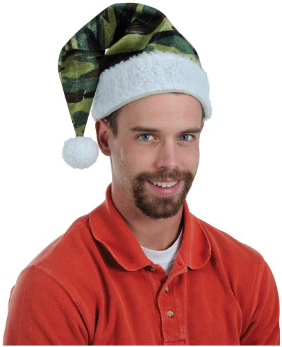 Beistle Men's Company Velvet Camo Santa Hat With Plush Trim
