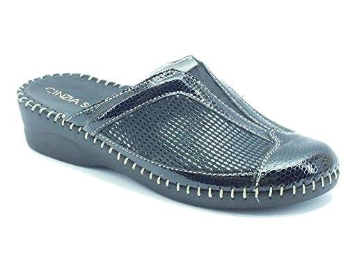 Pantofole Cinzia Soft in pelle pitonata nera (Taglia 36)