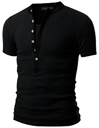 Doublju Mens Henley T-shirts with Short Sleeve BLACK (US-M) Jersey Vintage Polo Shirt