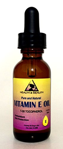 Tocopherol T-50 Vitamin E Oil Anti Aging Natural Premium Pure 1 oz with Glass Dropper