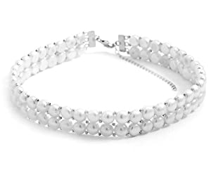 Sterling Silver 14 Inch+3 Inch Extention Double Row Cultured Freshwater Pearl Choker Necklace