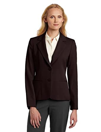 Anne Klein Women's Classic Blazer, Chocolate, 4