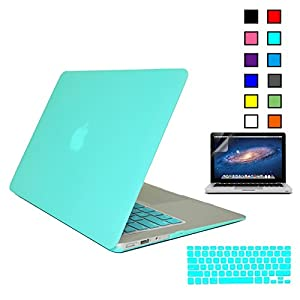 iBenzer® - 3 in 1 Multi colors Soft-Touch Plastic Hard Case Cover & Keyboard Cover & screen protector for Macbook Air 13'', Turquoise MMA13TBL+2