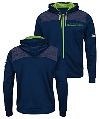 Seattle Seahawks Mens Navy Game Elite Full Zip Synthetic Poly Hoodie Sweatshirt
