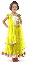 Awesome Fab Yellow Colour Soft Net Semi-stitched Laced Lehenga Choli