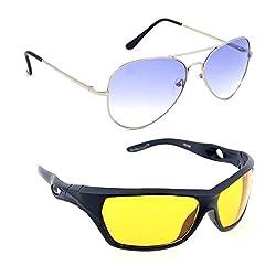 Elligator Stylish Aviator Silver Blue And Yellow Nightvision Sunglasses Combo ( Set of 2 )