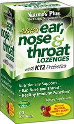 Nature's Plus - Adult's Ear, Nose & Throat Lozenges 60