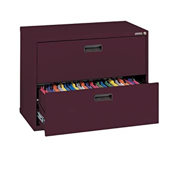 "Sandusky 400 Series Burgundy Steel Lateral File Cabinet with Plastic Handle, 30"" Width x 27-1/4"" Height x 18"" Depth, 2 Drawers"