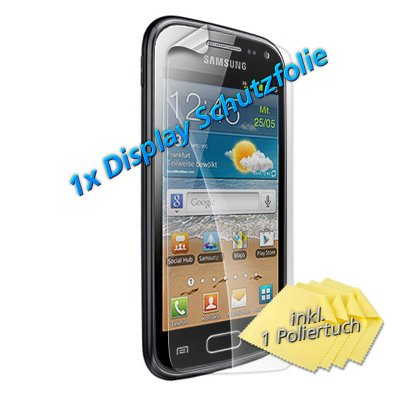 1x Lcd Handy Display Schutz Folie für Samsung S6500 Galaxy Mini II 2 (Glare Klar Glanz) Screen Guard Protector NEU