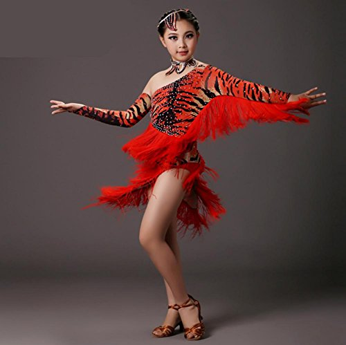 Tassel Tiger diamond girl Latin dance costumes , 2 , s (Latin Dancing Costume Patterns)