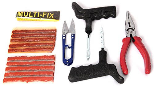 Advanced Tubeless Tyre Puncture Repair Kit (Puntcher Kit + Nose Pliers + Premium Strip Cutter + Rubber Adhesive + 5 Extra Strips)