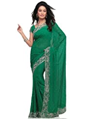 Utsav Fashion Women's Green Faux Georgette Saree with Blouse - B00KM54IFQ