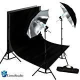 Limostudio New Photo Photography Video Studio Umbrella Continuous Lighting Light Kit Set- Lighting Stand, 10' X 10' Black Double Muslin, Carrying Case, AGG719