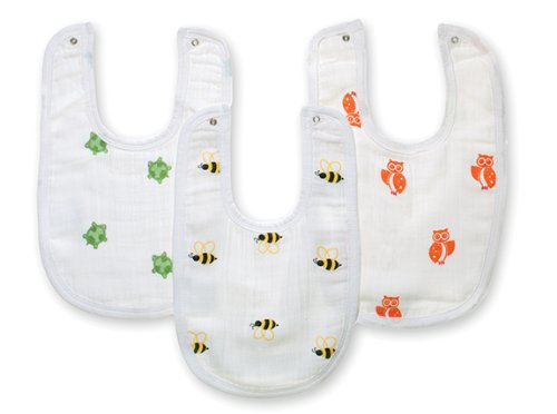 Aden By Aden + Anais 3 Pack Muslin Little Bib, Life'S A Hoot