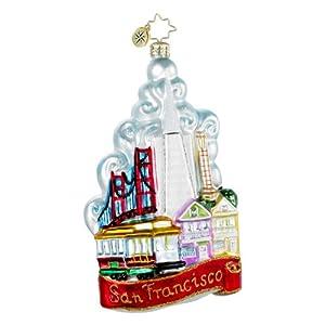 RADKO THE CITY BY THE BAY San Francisco Christmas Glass Ornament