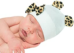 Melondipity\'s Little Leopard Hospital Hat for Newborn Girls