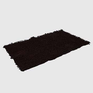 Tapis de salle de bain bain chenille noir cuisine - Tapis salle de bain noir ...