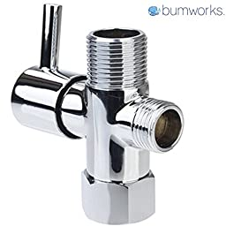 Bumworks Brass Metal 3- Way T-Valve Adapter Connector with Shut-off Valve, Chrome Finish, by Kaydee Baby