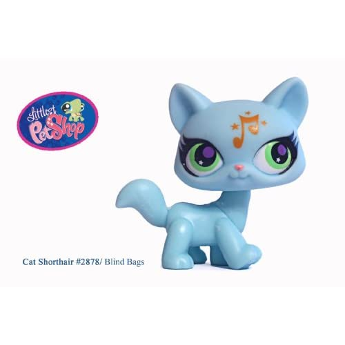 Littlest Pet Shop # 2878 Blue Fluffy Tail Ragdoll Cat with Music Note