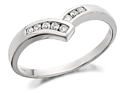 F.Hinds Womens Jewellery Jewelry 9ct White Gold Diamond Wishbone Ring - 13pts