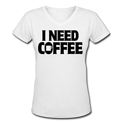 Spreadshirt Women'S I Need Coffee Funny Cute Java... T-Shirt, White, M