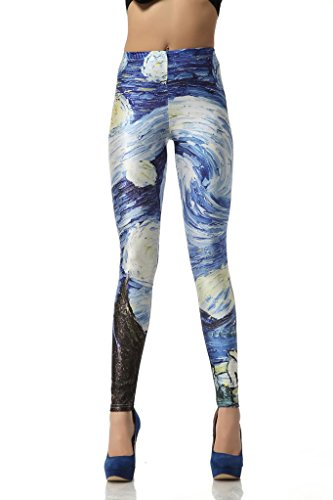 RoKo Fashion Oil painting print Lightweight Leggings Pants,M size