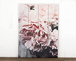 12x16 Vertical Peony Plaque Ready to Hang Pink Flower Wood Plank Art