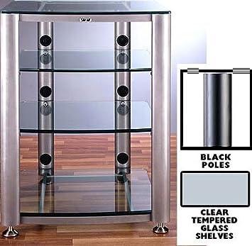 DO NOT SET LIVE!HGR Series Audio Rack Poles/Caps: Black, Glass Color: Clear, Number of Shelves: 4-Shelf