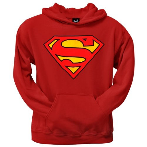 Old Glory Mens Superman - Shield Logo Red Pullover Hoodie - 2X-Large Red