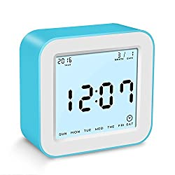 BonyTek Intelligent Digital Clock with Alarm Clock, Calendar, Temperature and Count-down Timer Display in 4 Rotating, Battery Operated Smart Travel Clock with Light-control LED Backlight (Blue)