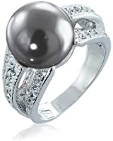 Bling Jewelry Pave Cubic Zirconia Grey Simulated Pearl Cocktail Ring Rhodium Plated