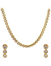 Divya Collection Elegant Design American Diamond Kundan Necklace Set For Women
