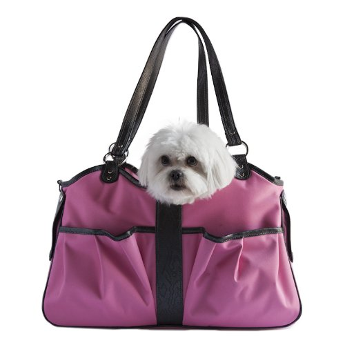 Petote Metro Dog Carrier Bags with 2 Open Pockets, Fuschia Pink, Large