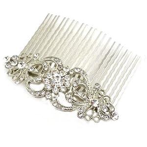 Bridal Hair AccessoriesáSwarovski Crystal & Antique Silver Comb Slide