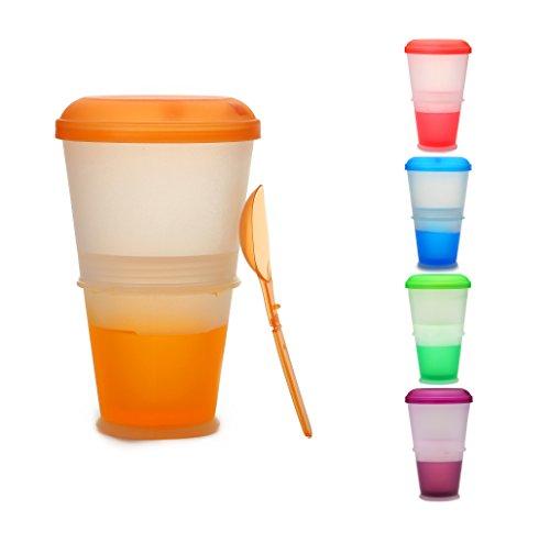 Muesli to Go - Tazza Termica per Cereali da Viaggio, con Scomparto Refrigerante per Yogurt/Latte e Cucchiaio Incluso. Colore: Arancione