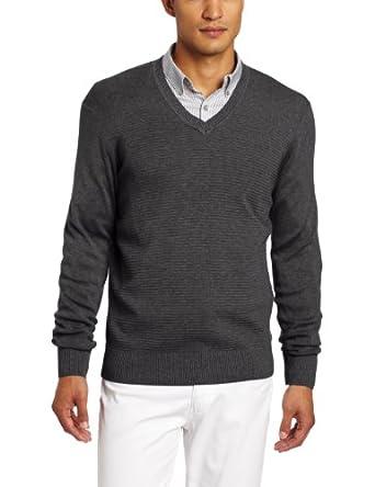Calvin Klein Sportswear Men's Ottoman Full Needle V-Neck Sweater, Zoltan Heather, Small