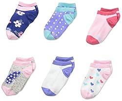 Stride Rite Little Girls' Dainty No Show Socks-6 Pack, Light Pink, 6-7.5