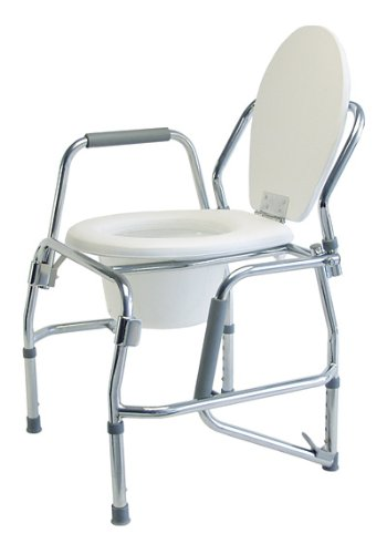 Lumex Platinum Collection 3 In 1 Steel Padded Drop Arm Commode, Chrome