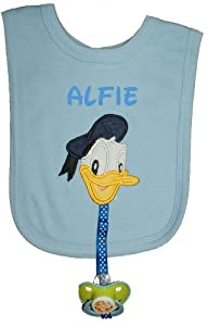 Donald Duck Personalised Bib with Dummy Clip & Dummy, Handmade in the UK with embroidered name.