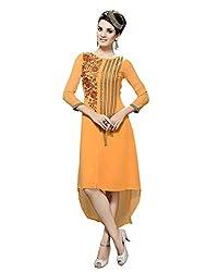 JCM Krishriyaa Women'sWild Orange Georgette Embroidered Straight Kurti With XXL Size