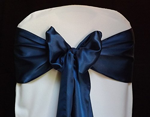 MDS Pack of 10 satin chair sashes bow sash for wedding and Events Supplies Party Decoration chair cover sash -navy Blue