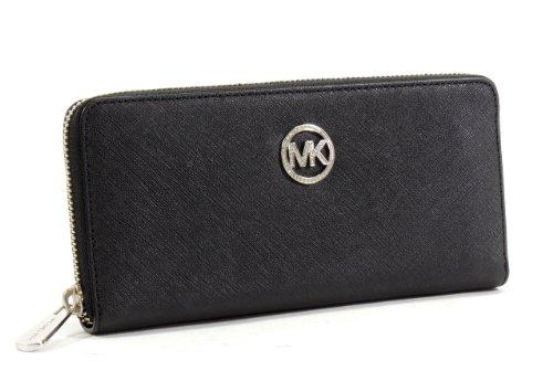 Michael Kors Jet Set Travel Continental Saffiano Leather Jewel Wallet Black