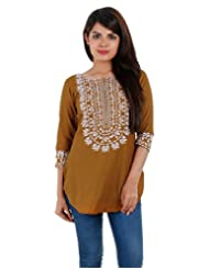 ESTYLe Casual Cotton Brown Short Kurta With Embroidered Yoke