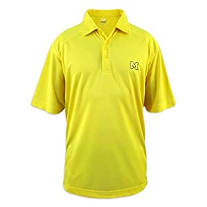 Michigan Wolverines Mens Cutter and Buck Drytec Maize Genre Polo by Cutter & Buck