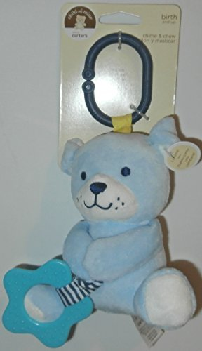 Child of Mine Chime and Chew Soft Plush - Blue Dog with Teething Ring and Chime - 1