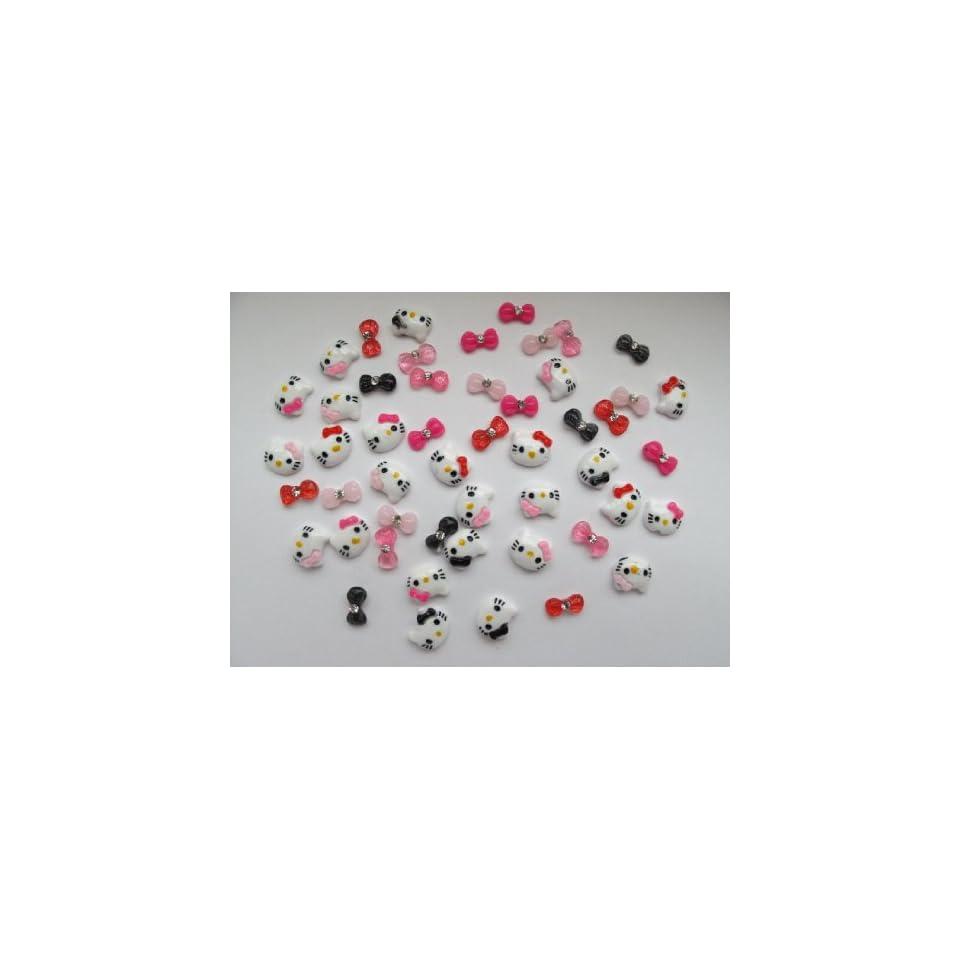 Nail Art 3d 40 Pieces Mix Hello Kitty/Bow /Rhinestone for