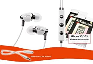 Klipsch Image S4i Headphone Bundle for iPhone 3G/3GS (Includes iPhone Screen Protectors and Extension Cord) - White