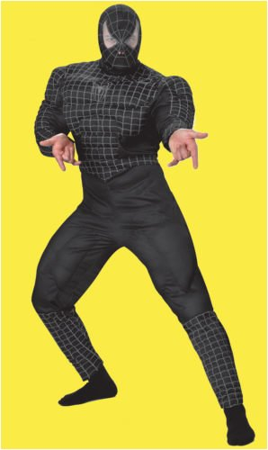 Spider-Man Black-Suited Deluxe Muscle Young Adult (Teen) Costume Size 38-40
